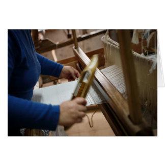 Tecelagem açoriana do craftswoman cartão