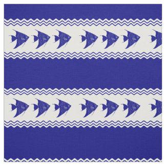 Tecido 3 Angelfish litorais do azul marinho e os brancos