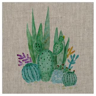 Tecido Aguarela, cacto, succulents