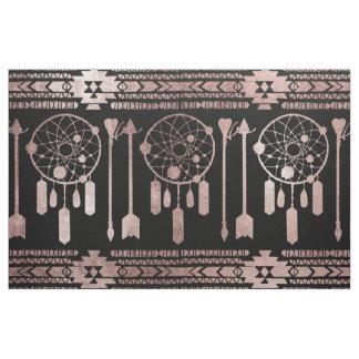 Tecido Asteca tribal do ouro cor-de-rosa de Dreamcatcher