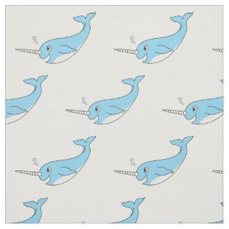 Tecido Azul bonito feliz Narwhal dos desenhos animados