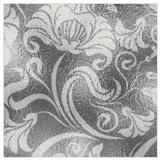 Tecido Cinzas de prata ID461 do Shimmer floral do damasco