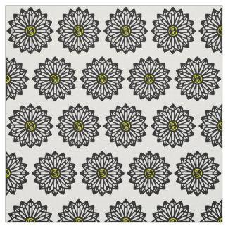 Tecido de Yin Yang - preto, branco, amarelo