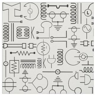 Tecido elétrico dos símbolos em preto e branco
