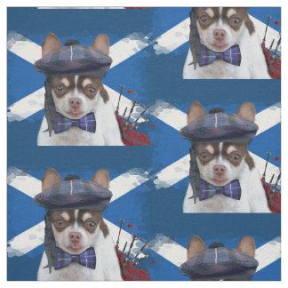 Tecido escocês do costume do cão da chihuahua