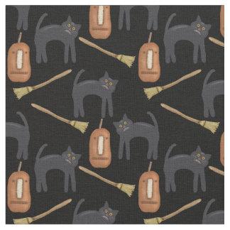 Tecido Gatos Prim do Dia das Bruxas, abóboras, vassouras,