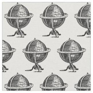 Tecido Litografia do globo do mundo do vintage que tira
