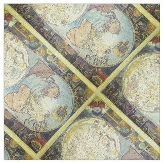 Tecido O mapa de Velho Mundo do vintage telhou o teste