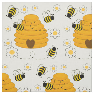 Tecido O mel Bumble floral amarelo ensolarado da colmeia