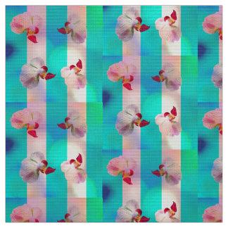 Tecido Orquídeas cor-de-rosa com listras