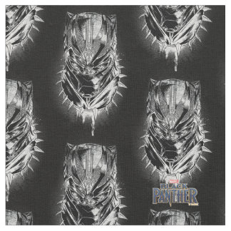 Tecido Pantera preta esboço principal preto & branco de |