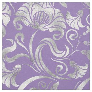 Tecido Prata floral do Shimmer do damasco algum fundo