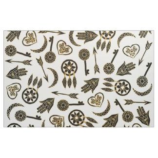 Tecido Preto e símbolos populares do ouro no branco