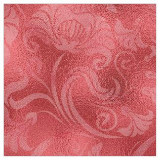Tecido Rosa floral ID461 vermelho do Shimmer do damasco