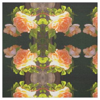 Tecido Rosas do pêssego do país