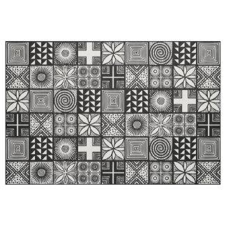 Tecido Teste padrão de Adire - preto e branco