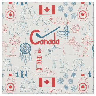 Tecido Teste padrão dos símbolos de Canadá  