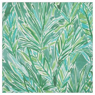 Tecido Teste padrão tropical verde selvagem da folha da