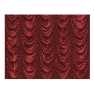 Tecido vermelho do cetim com teste padrão Scallope Cartões Postais