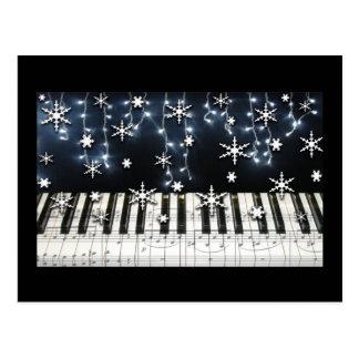 Teclado do floco de neve do Natal do piano Cartão Postal