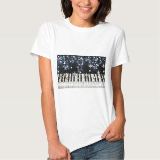 Teclado do floco de neve do Natal do piano Tshirt