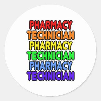 Técnico da farmácia do arco-íris adesivo redondo
