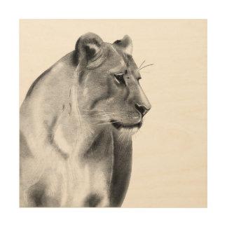 Tela De Madeira Animais selvagens da leoa das pastagem do Savanna