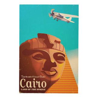 Tela De Madeira Poster de viagens do estilo do vintage do Cairo