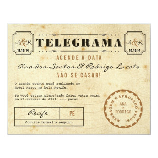 Telegrama do Vintage Agende a Data Convite 10.79 X 13.97cm
