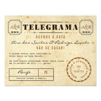 Telegrama do Vintage Agende a Data Invitations