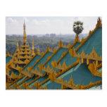 Telhe partes superiores do pagode de Shwedagon, Cartão Postal