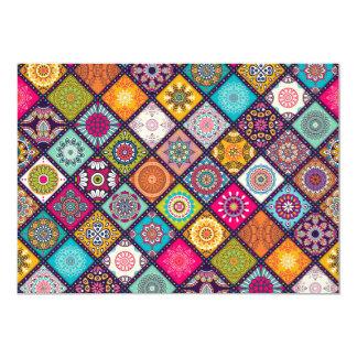 Tema colorido do partido do mosaico das noites convite 12.7 x 17.78cm