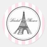 Tema da etiqueta | Paris France do favor do chá de Adesivo Redondo