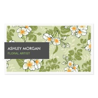 Tema floral verde à moda do vintage cartão de visita