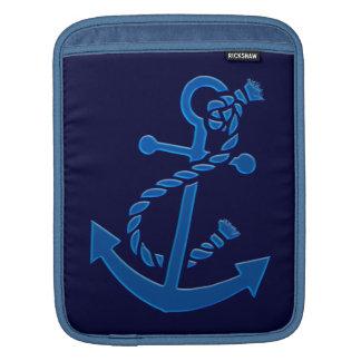 Temático marinho náutico da âncora do navio azul bolsas para iPad