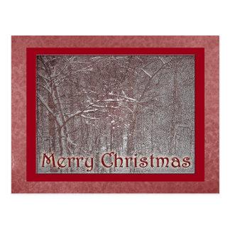 Tempestade da neve de fevereiro do Feliz Natal Cartão Postal