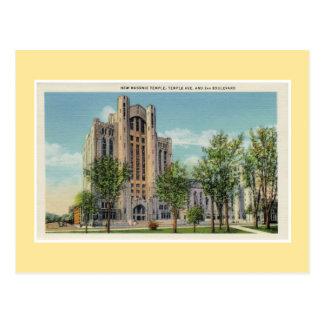 Templo maçónico novo de Detroit do vintage Cartão Postal