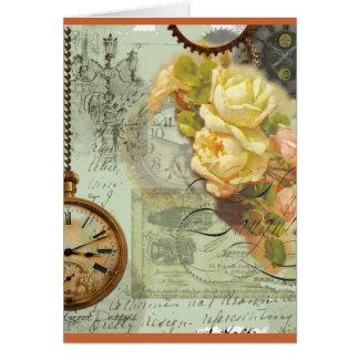 Tempo de Steampunk & rosas amarelos Cartão