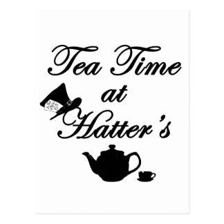 Tempo do chá no Hatter Cartão Postal