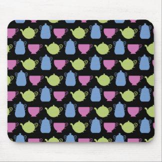 tempo do chá: potes e copos do chá mouse pad