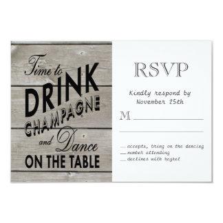 Tempo rústico de RSVP beber Champagne Convite 8.89 X 12.7cm