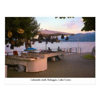 Tenda da beira do lago, Belaggio, lago Como Cartão Postal