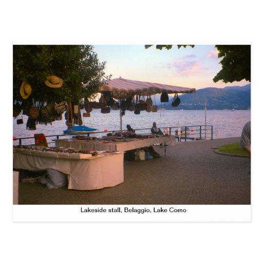Tenda da beira do lago, Belaggio, lago Como Cartoes Postais