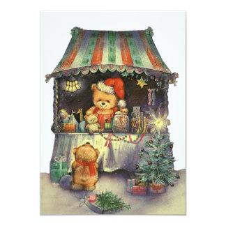 Tenda do mercado do Natal de urso de ursinho Convite 12.7 X 17.78cm