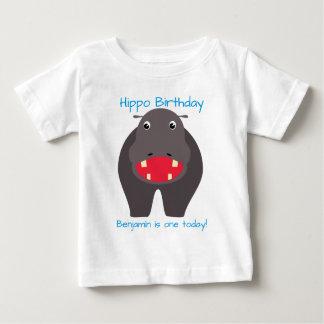 Tenha um aniversário do hipopótamo! camiseta para bebê