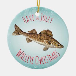 """""""Tenha um Natal alegre dos Walleye """" Ornamento De Cerâmica Redondo"""