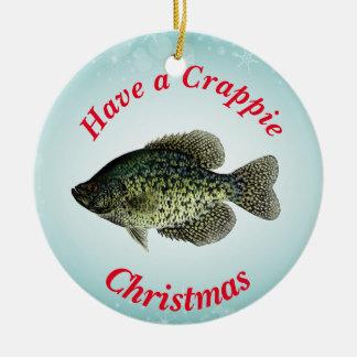 """Tenha um Natal do tipo de peixe"" caracterizar o Ornamento De Cerâmica Redondo"