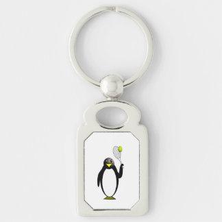 Tênis do pinguim chaveiro retangular cor prata