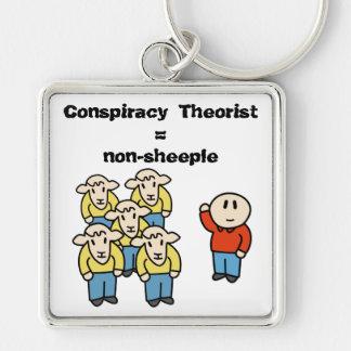 Teórico = non-sheeple da conspiração chaveiro quadrado na cor prata