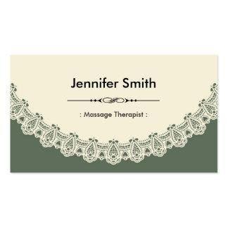 Terapeuta da massagem - laço chique retro cartão de visita